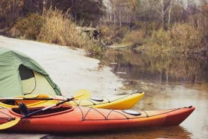 Two touring kayaks and a tent
