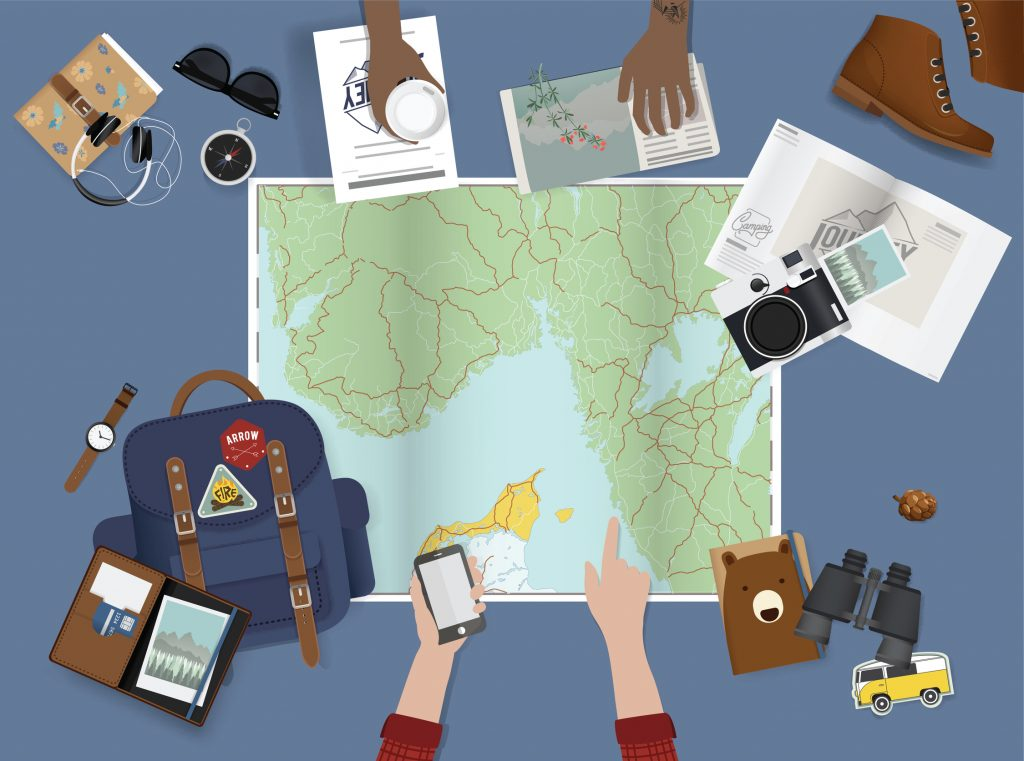 Illustration of planning for a trip