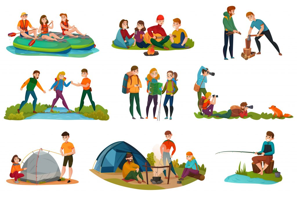 Camping people doing different types of activities such as hiking, woodchopping, kayaking...