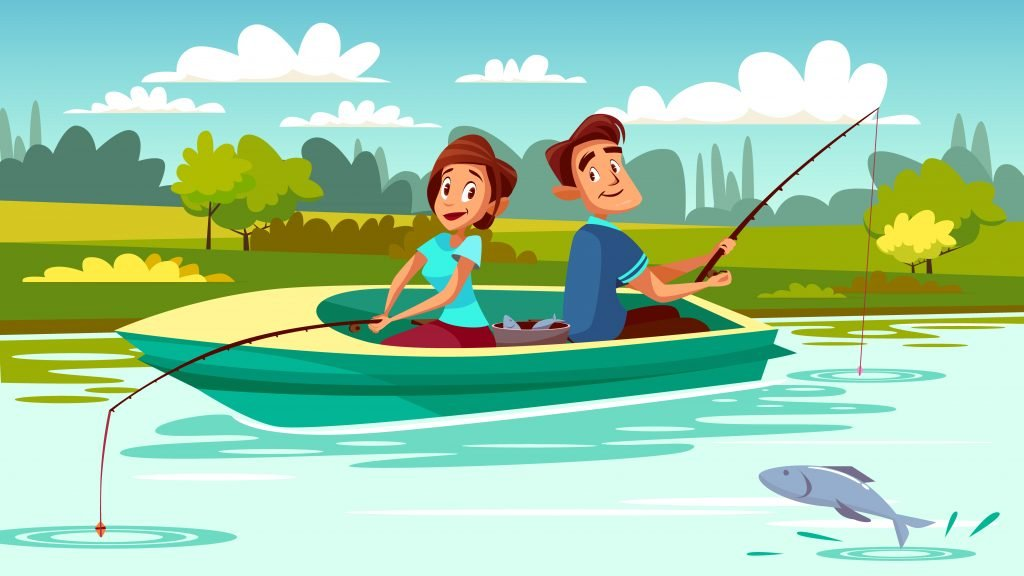 Couple fishing illustration of young man and woman in boat with rods on lake