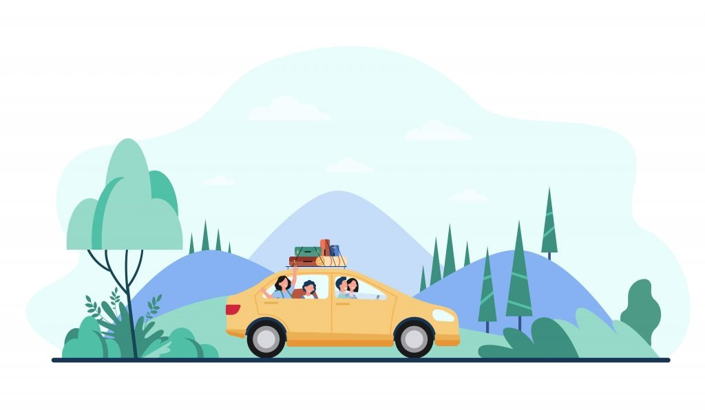 Happy family travelling by car with camping equipment on top. Parents and kids riding down country road by mountain landscape.
