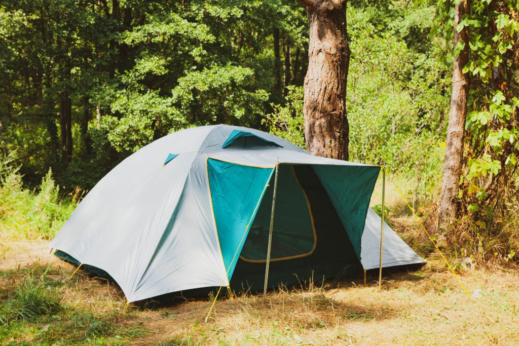 Camping tent in summer forest
