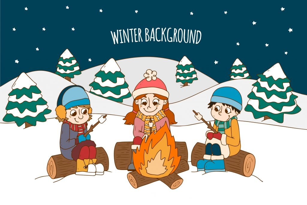 three children sitting in front of a campfire cooking marshmallows during winter.