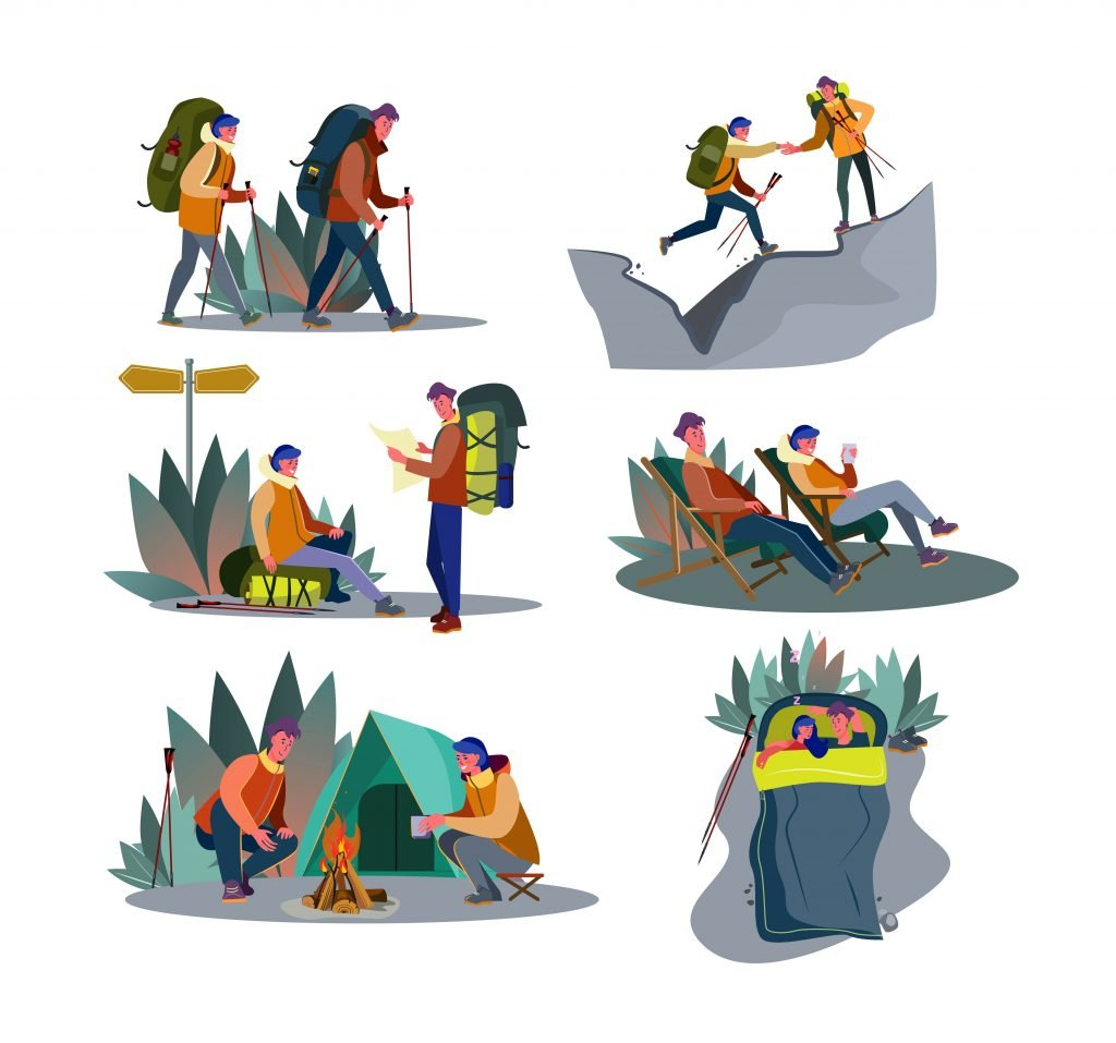 Adventure trekking set. Couple of campers hiking, sitting at tent and campfire, carrying backpack.