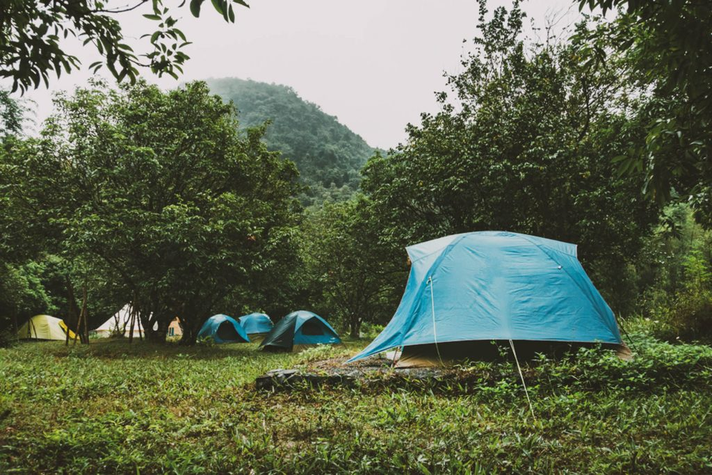 Tourist camp with lots of polyester tents in the woods. Light blue color dome tent and mountain range landscapes in the background