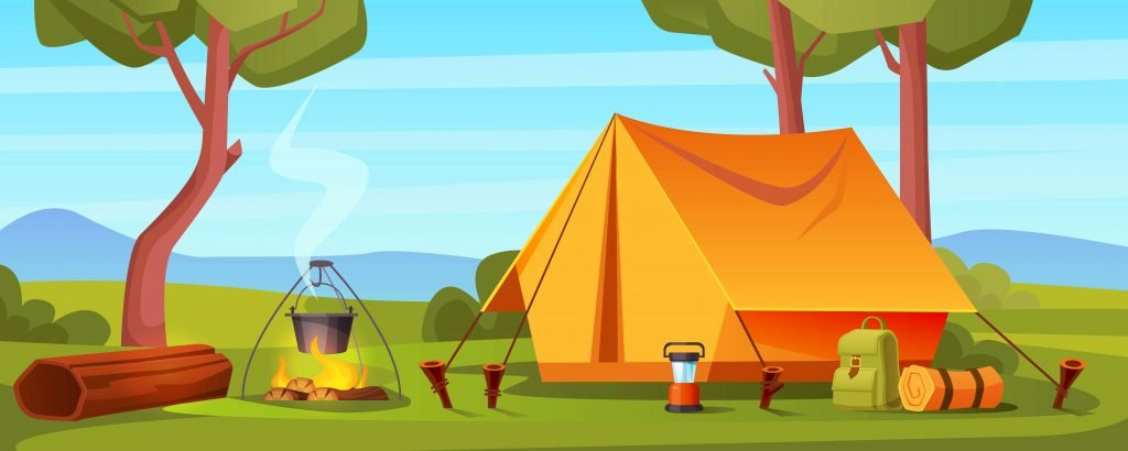 Summer camp in forest with bonfire, tent, backpack and lantern.