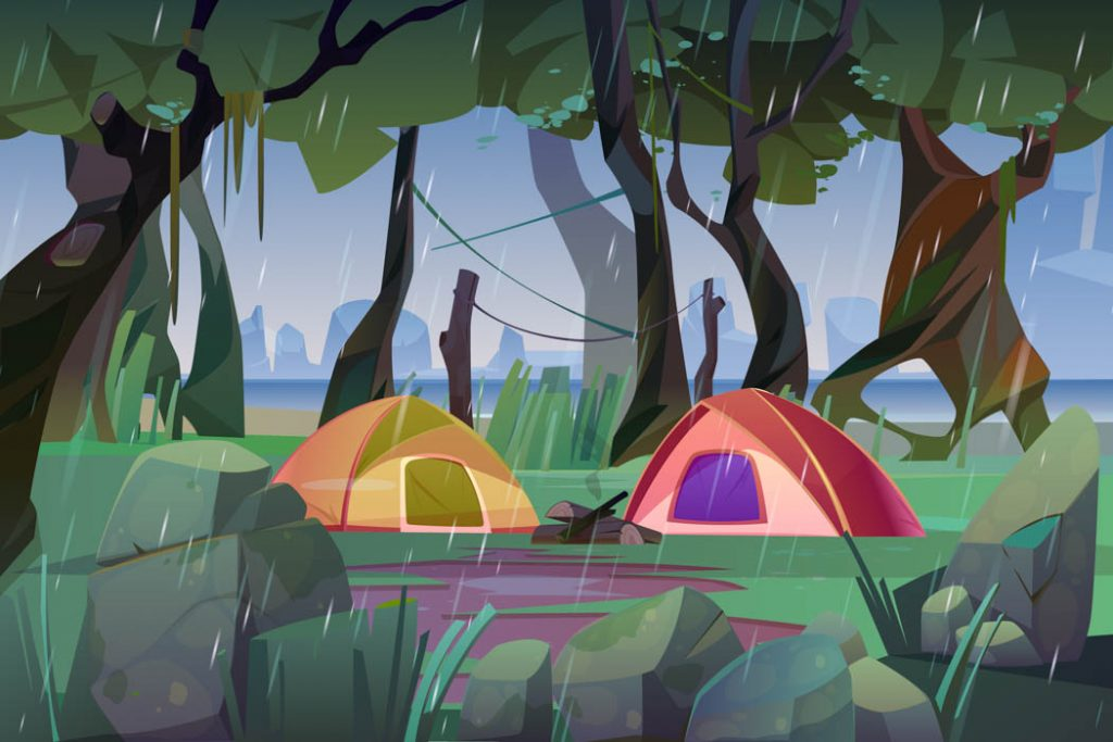 Summer camp with tents in forest at rainy weather