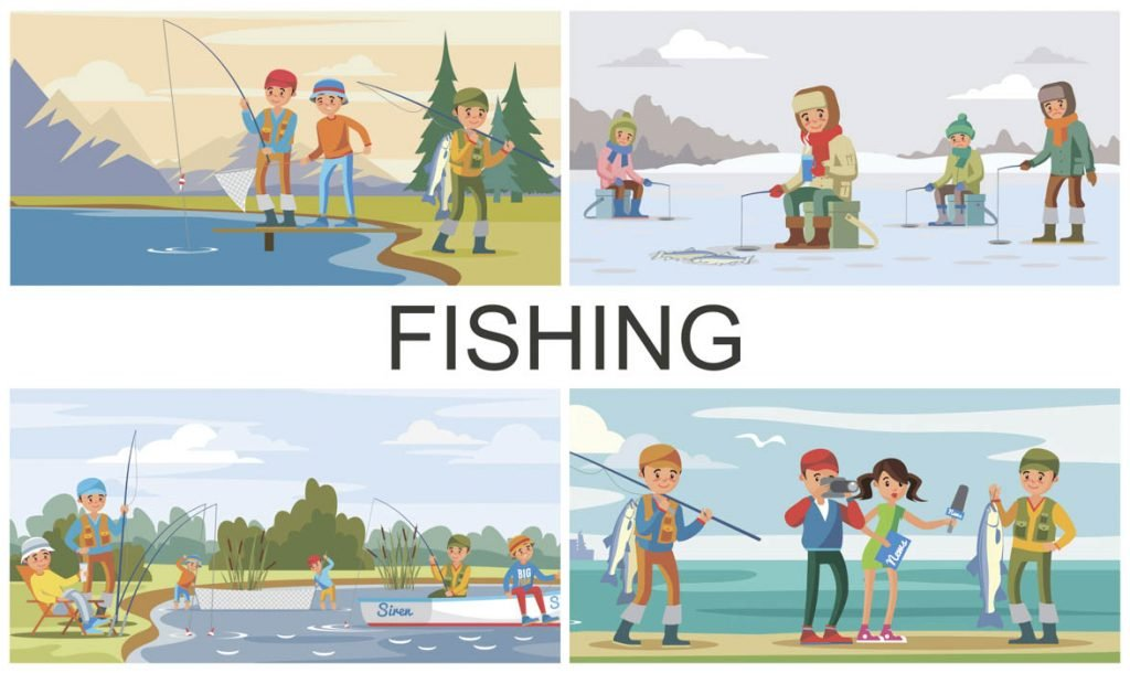 Fishing illustrations during different seasons
