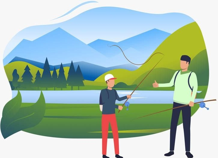 Dad and son holding fishing rods, landscape with lake