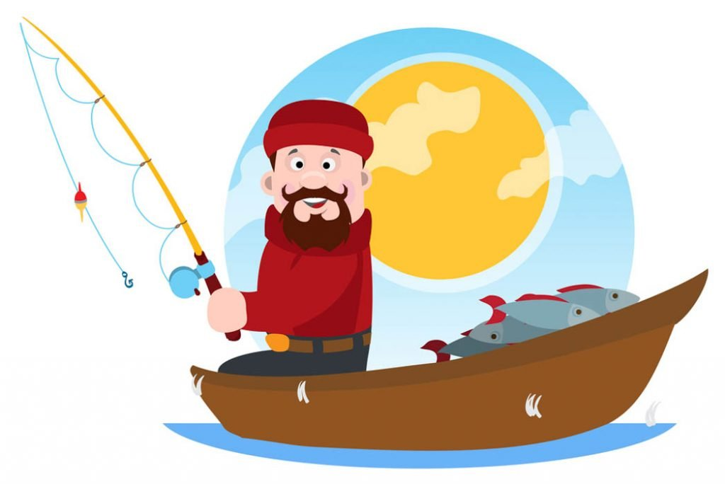A fisherman on a wooden boat fishing