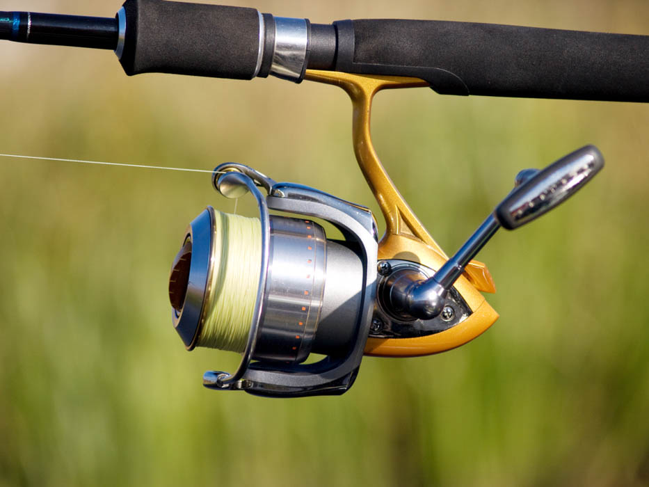 A spinning reel in close up