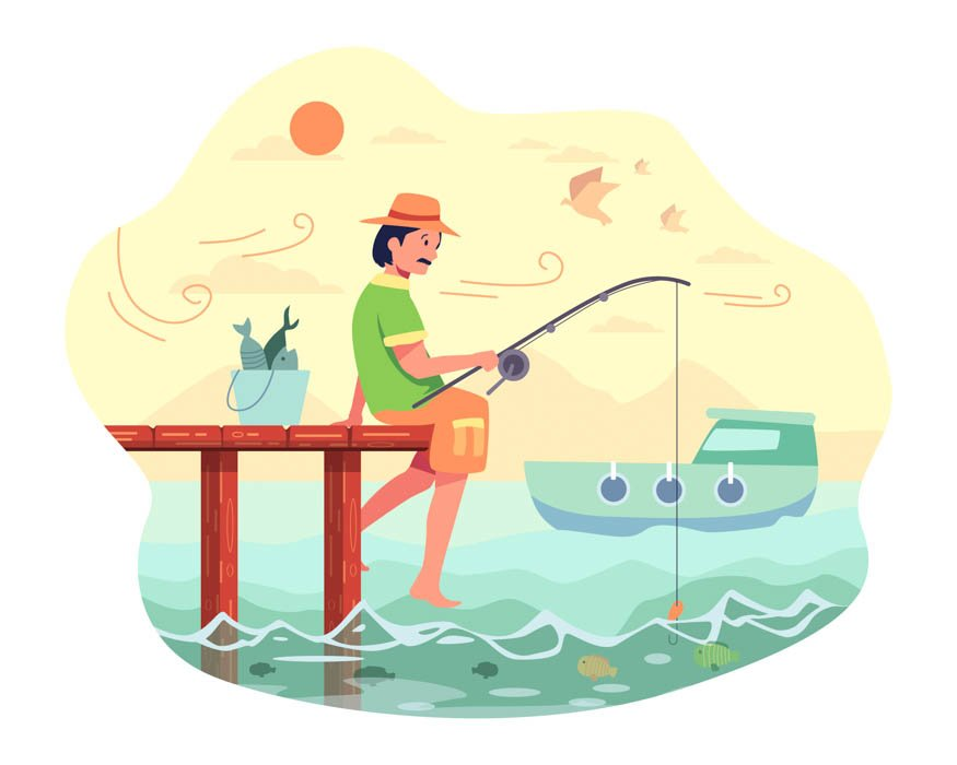 The fisherman sat fishing at the end of the bridge with a fishing rod and bait