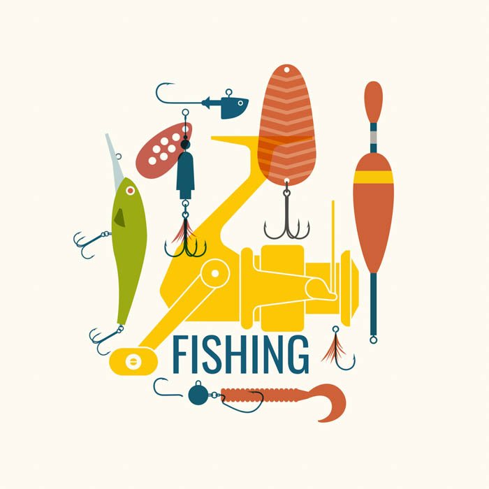 Vector of Spinning reel with lures
