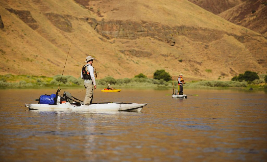 Fishing out of kayaks in Oregon in the John Day River