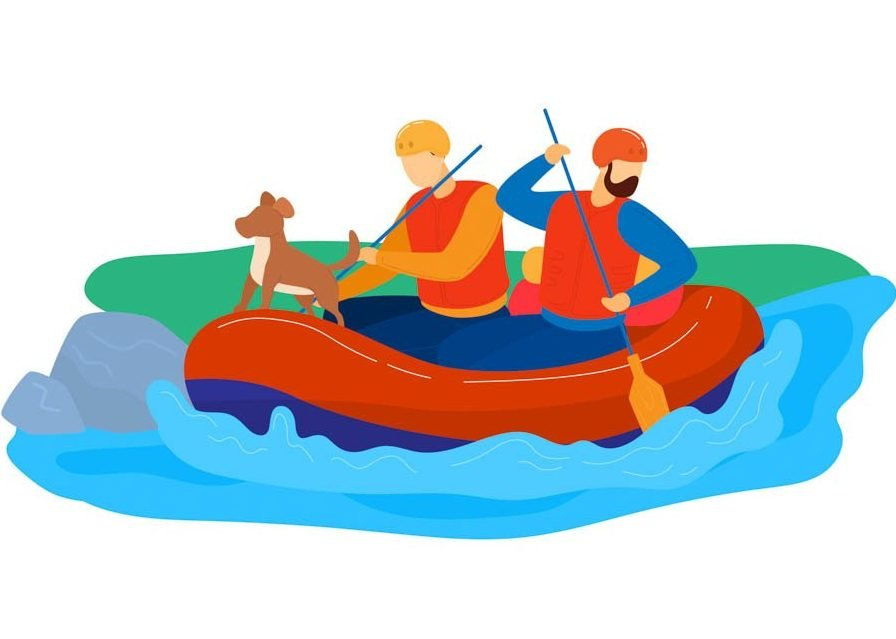 rafting on river with dog