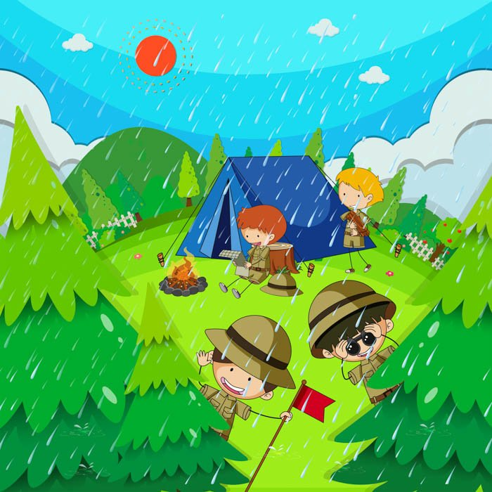 Children camping in park on rainy day
