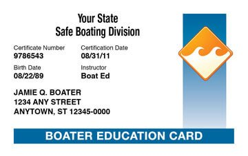 Boating certificate card