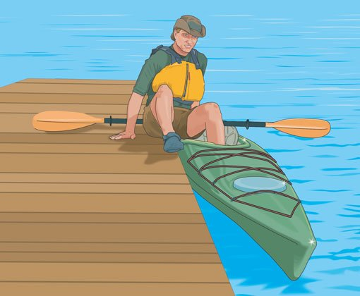 kayak entry from dock