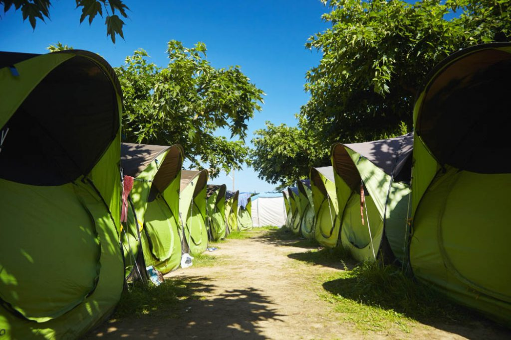 Identical green and black tents pitched on a campground