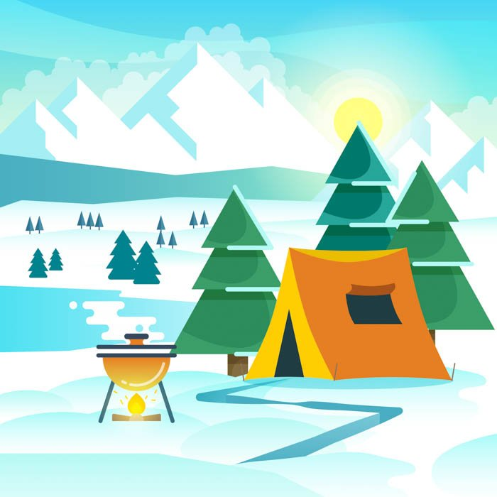Winter hiking vector background with tent and bonfire.